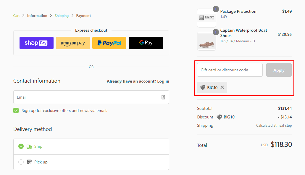 How do I use my Big Shoes discount code?