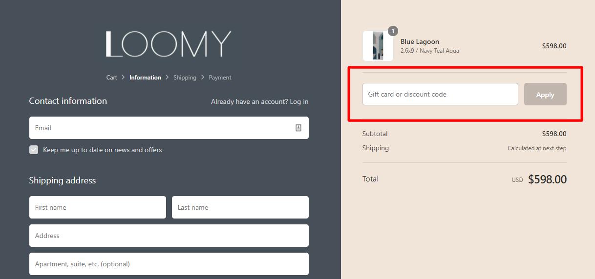 How do I use my LOOMY discount code?