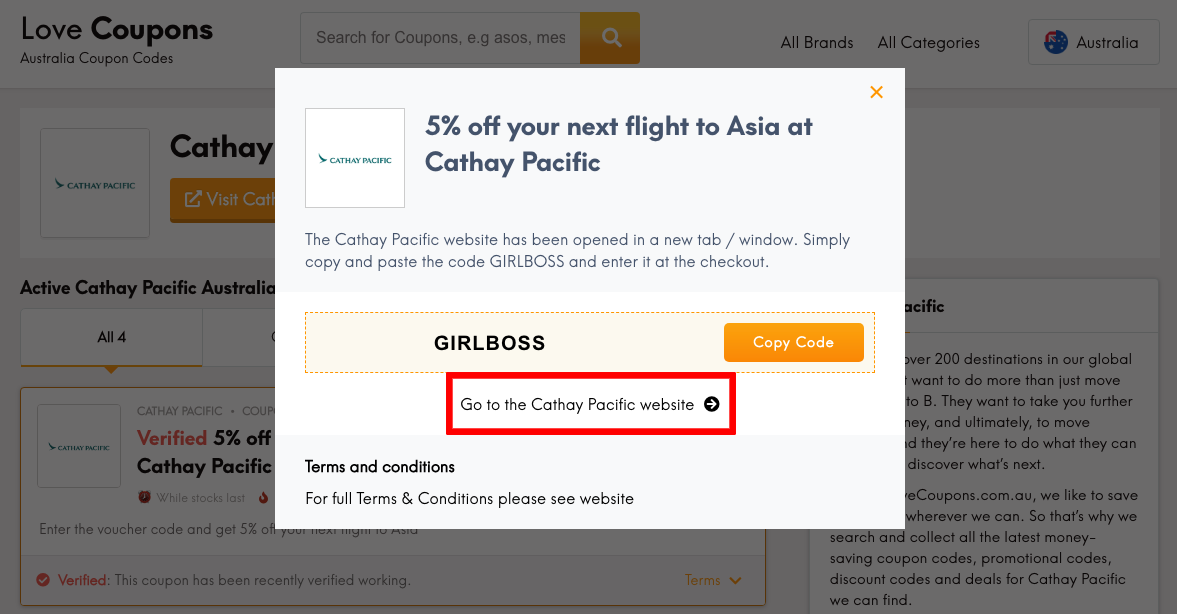 Cathay Pacific AU Get Coupon