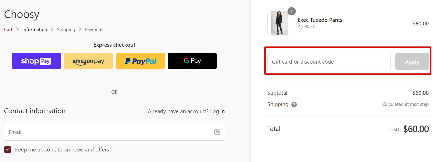How do I use my Choosy discount code?