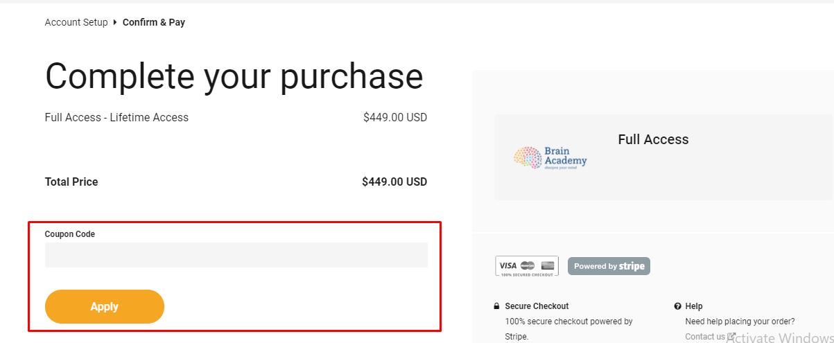 How do I use my Brain Academy coupon code?