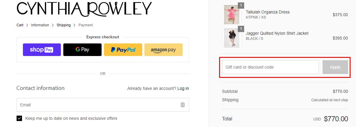 How do I use my Cynthia Rowley discount code?