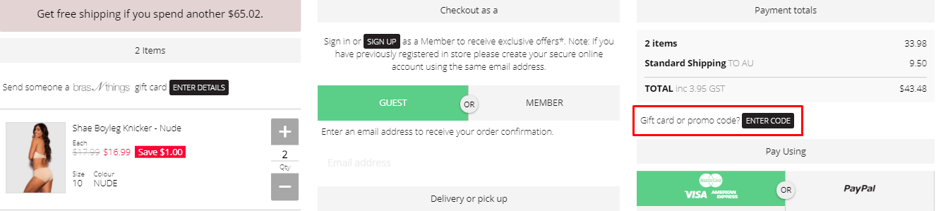 How do I use my BRAS N THINGS promo code?