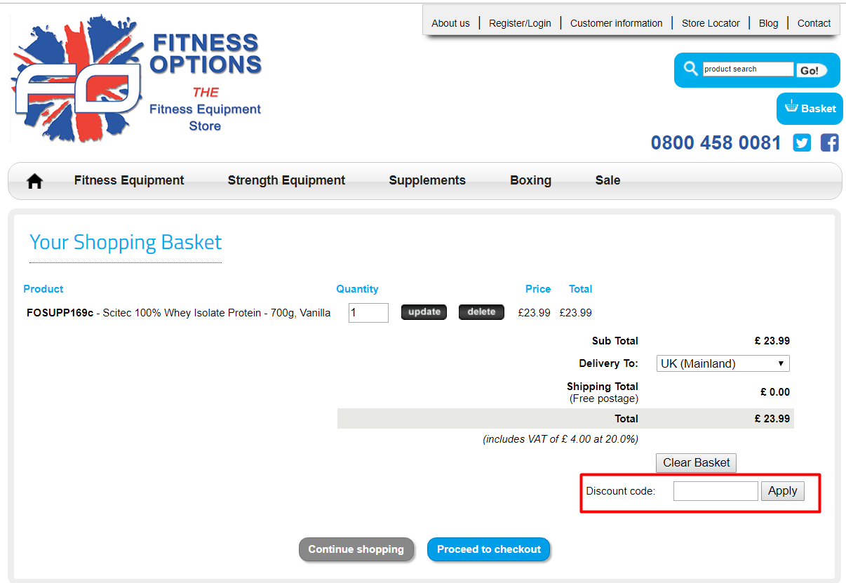 How do I use my Fitness Options discount code?