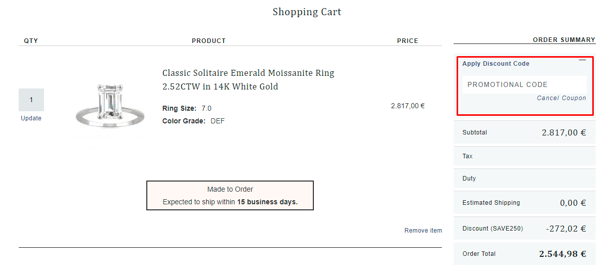 How do I use my Charles & Colvard discount code?