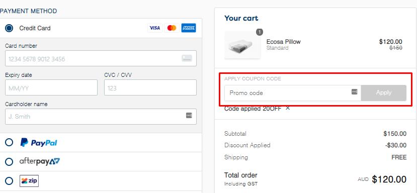 How do I use my Ecosa promo/coupon code?