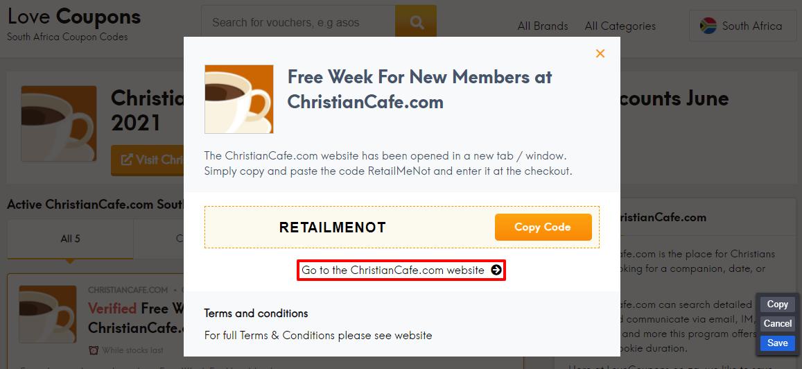 ChristianCafe.com Offer ZA