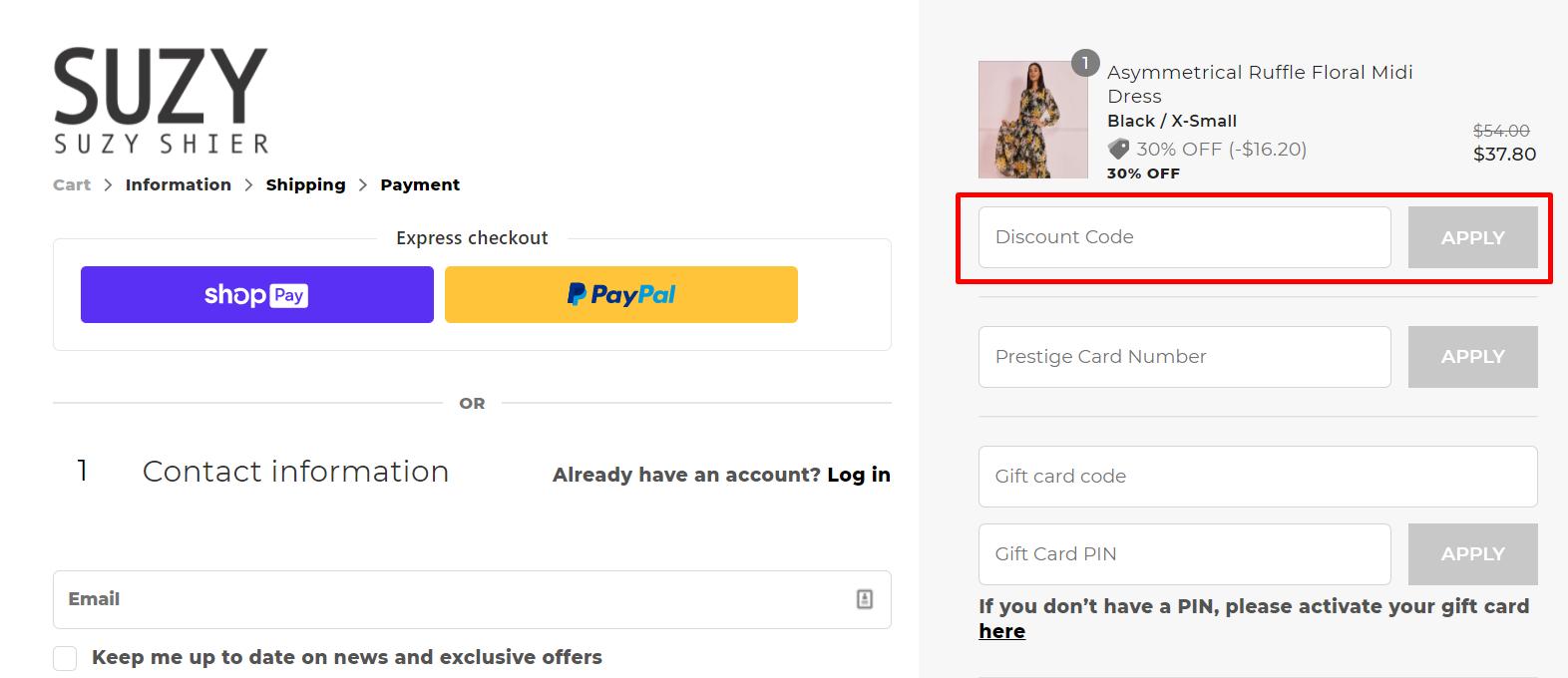 How do I use my Suzy Shier discount code?