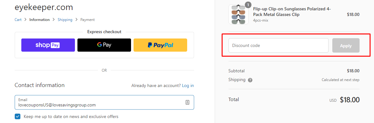 How do I use my eyekeeper.com discount code?