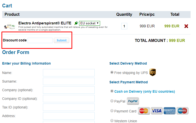 How do I use my Electro Antiperspirant discount code?