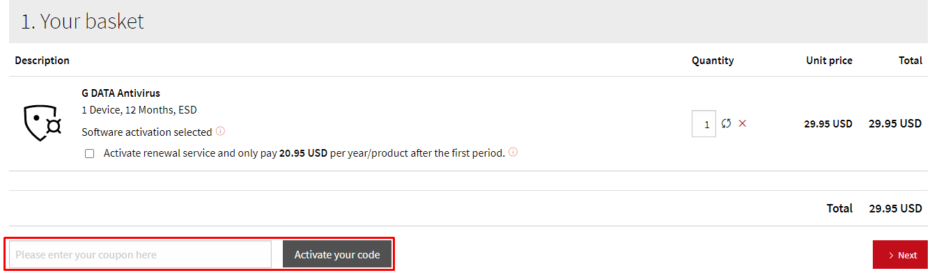 How do I use my G DATA discount code ?