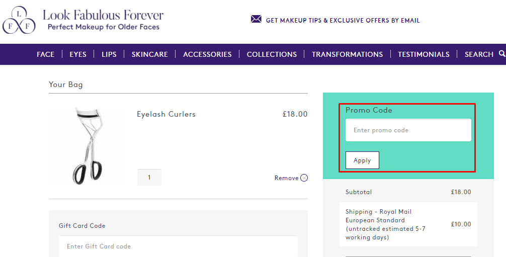 How do I use my Look Fabulous Forever promo code?