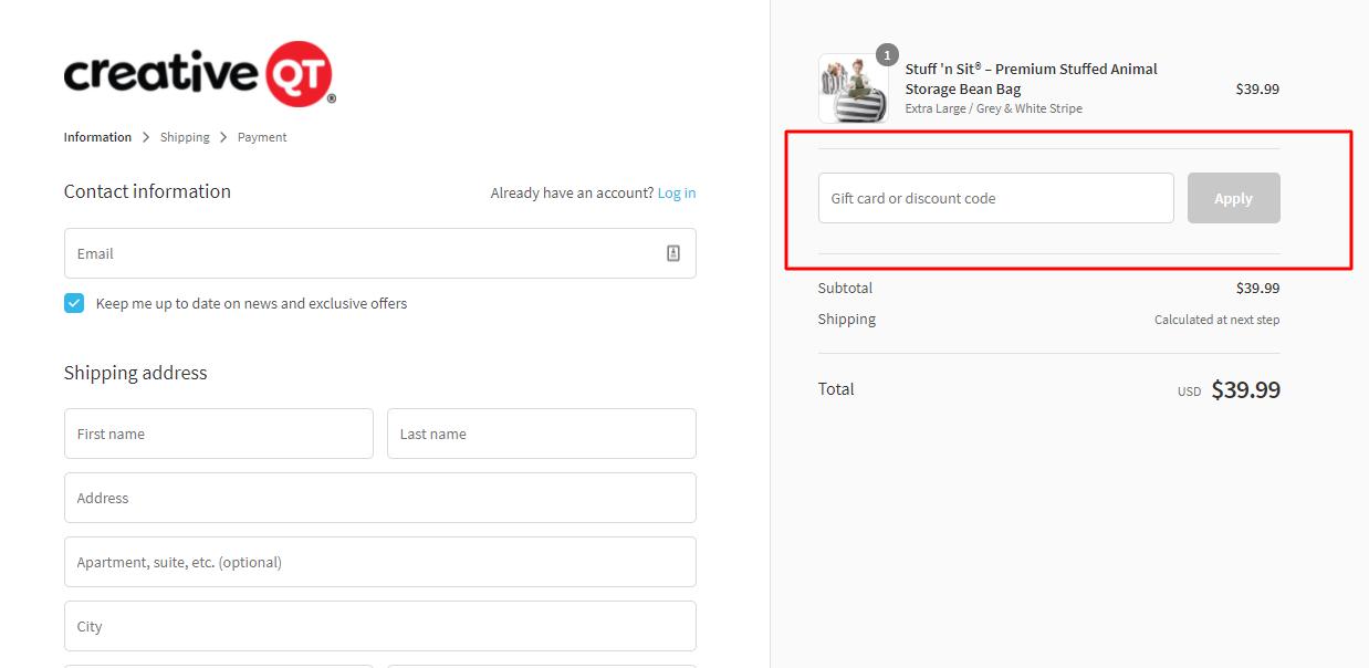 How do I use my Creative QT discount code?