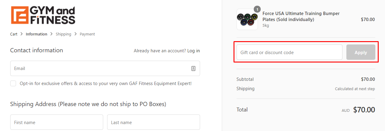 How do I use my Gym and Fitness discount code?
