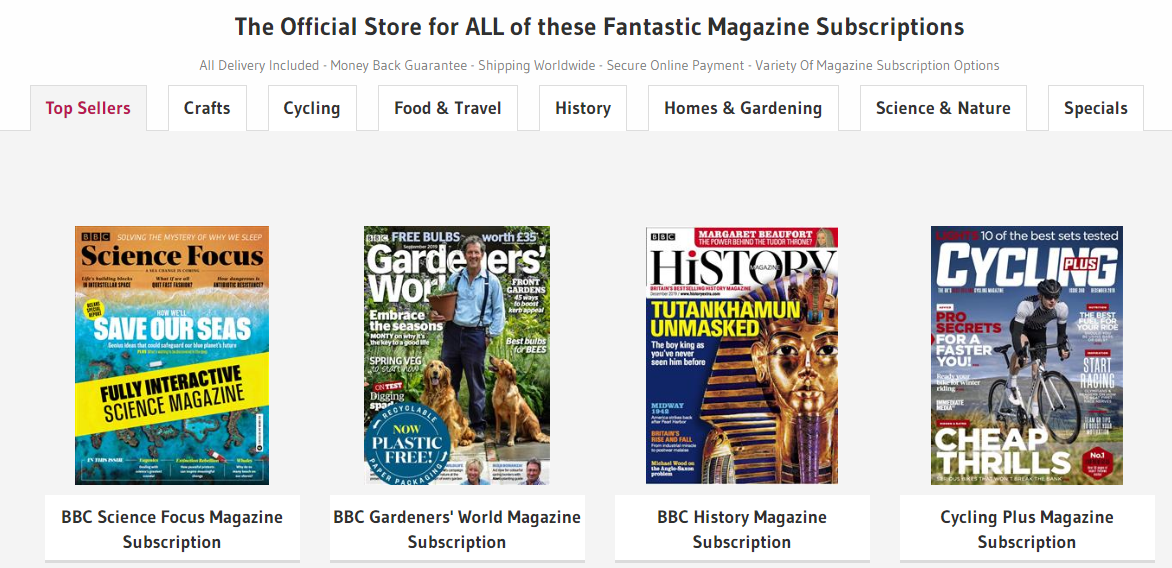 Buy Subscriptions Homepage