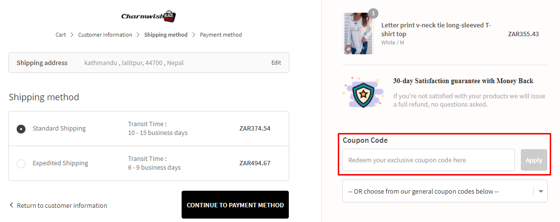 How do I use my Charmwish coupon code?