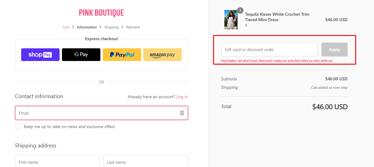 How do I use my Pink Boutique coupon code?