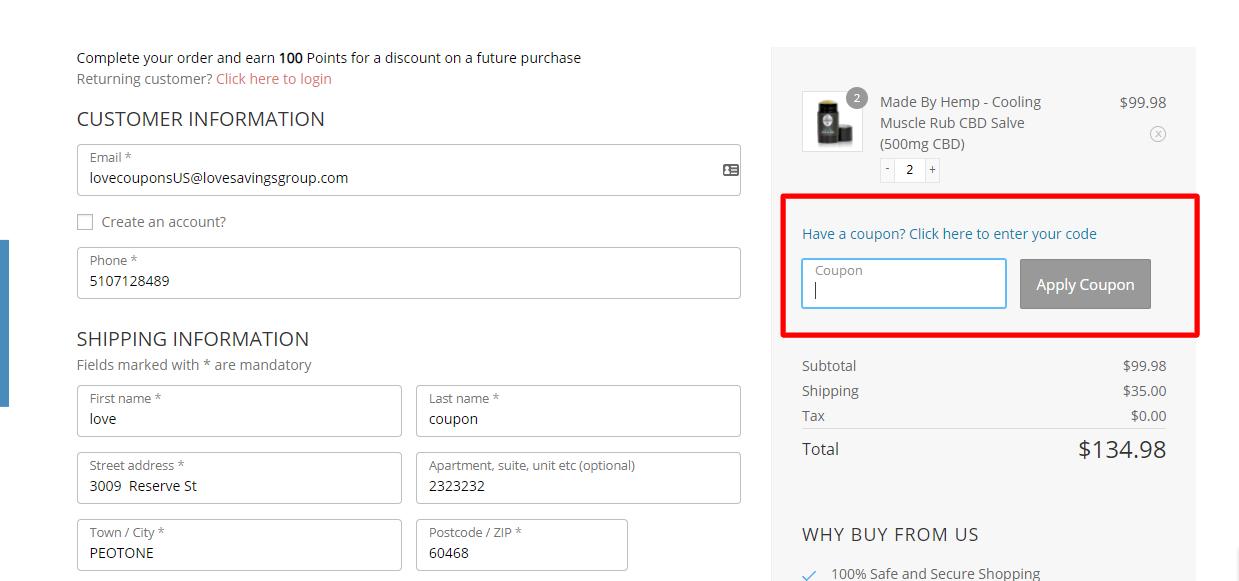 How do I use my MADE BY HEMP coupon code?