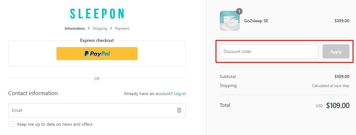 How do I use my Sleepon coupon code?