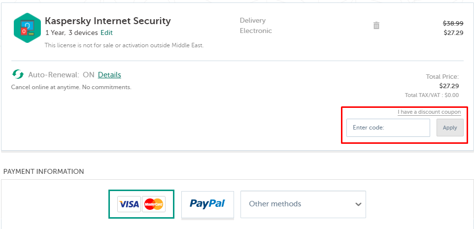 How do I use Kaspersky coupon code?