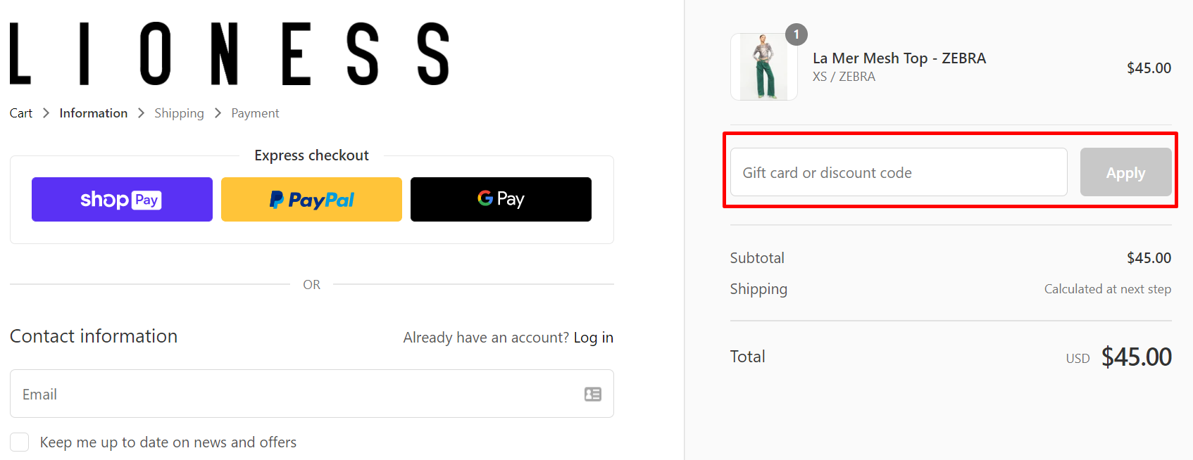 How do I use my Lioness discount code?