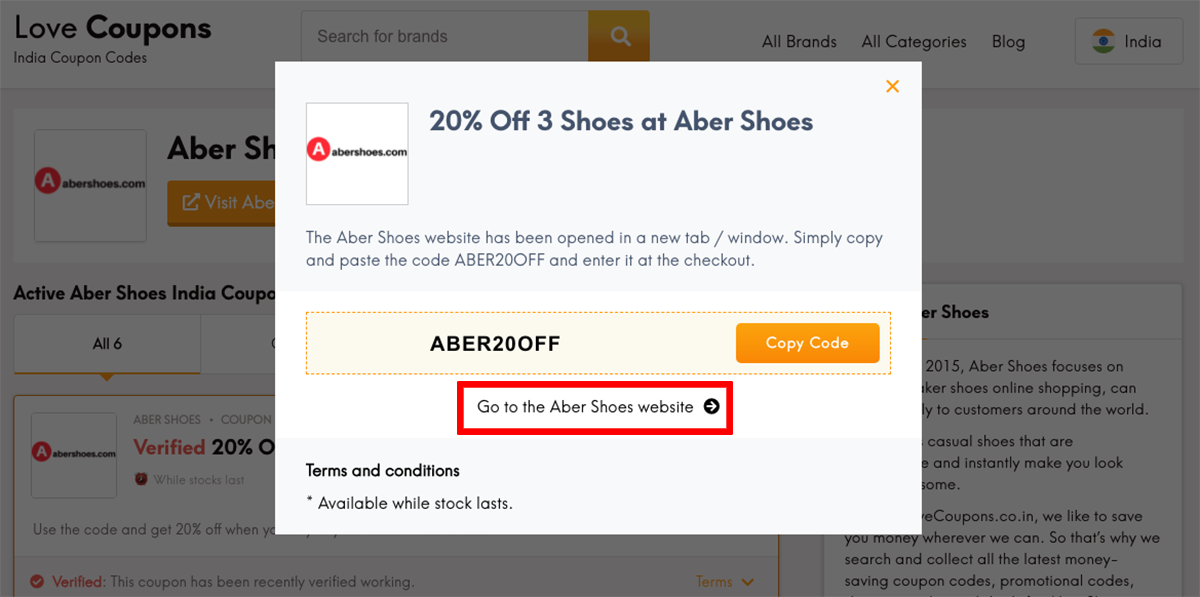 Aber Shoes IN Get Coupon