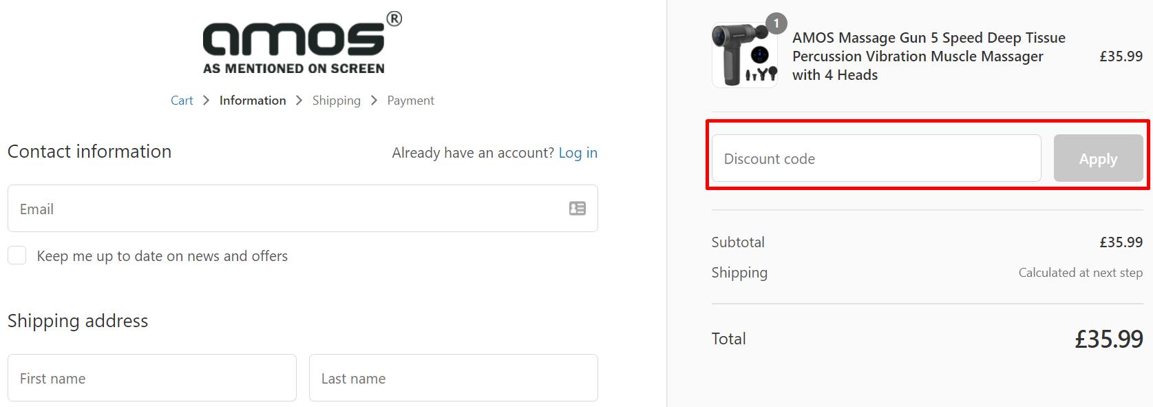 How do I use my AMOS discount code?