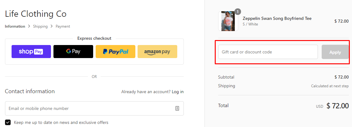 How do I use my Life Clothing Co discount code?