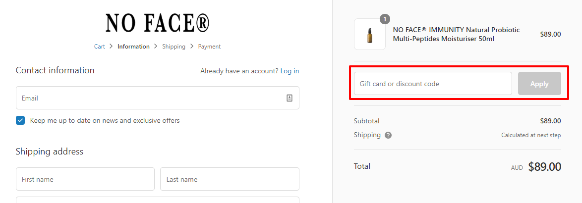 How do I use my No Face discount code?