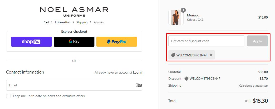 How do I use my Noel Asmar Uniforms discount code?