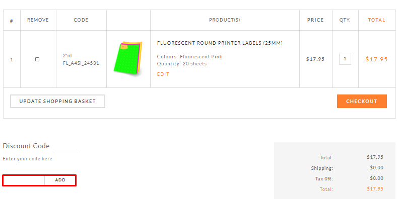 How do I use my A4 Labels discount code?