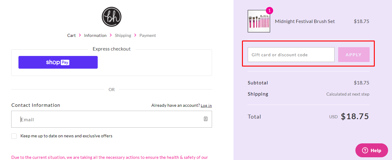 How do I use my BH Cosmetics coupon code?