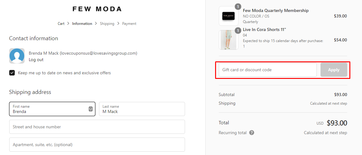 How do I use my Few Moda gift/discount code?