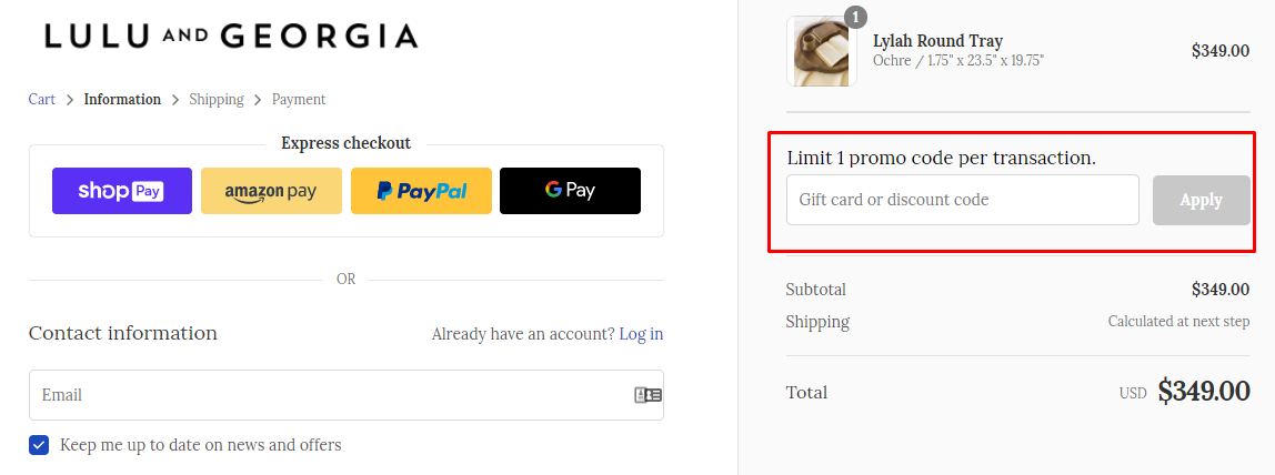 How do I use my Lulu and Georgia discount code?