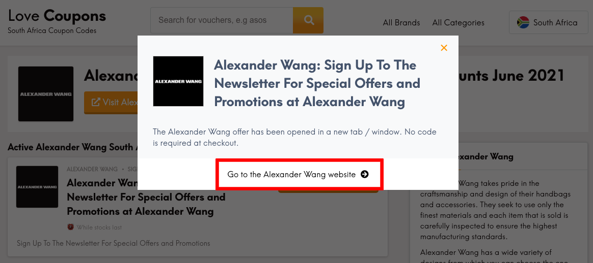 Alexander Wang ZA Get Coupon