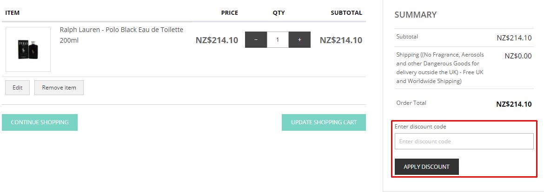 How do I use my The London Perfume Company discount code?