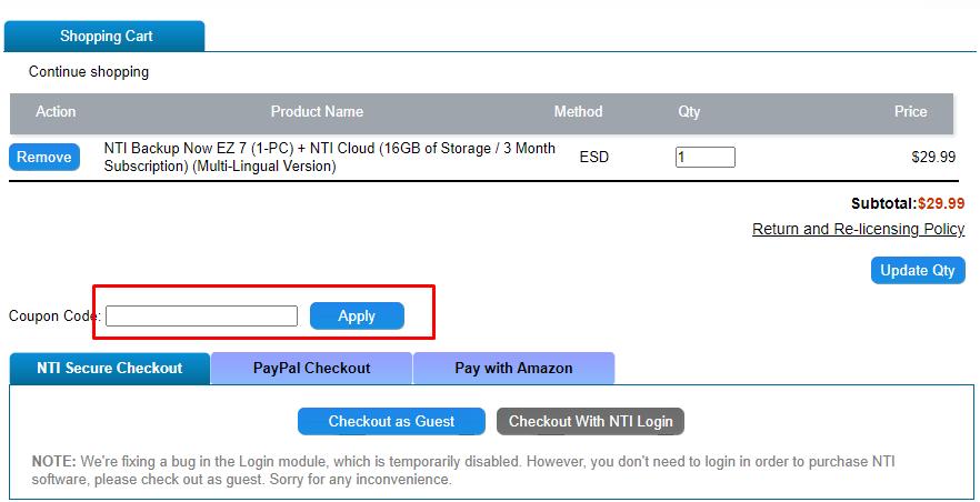 How do I use my NTI coupon code?