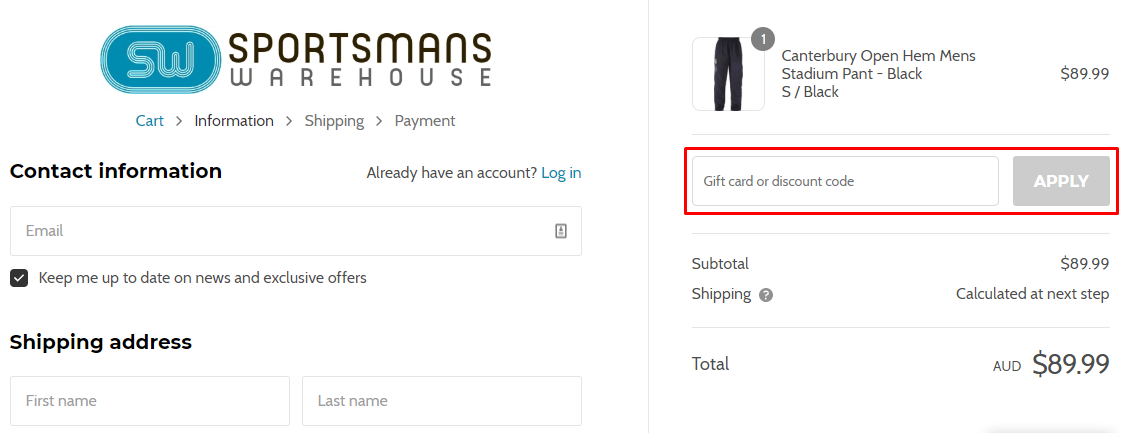 How do I use my Sportsmans Warehouse AU discount code?