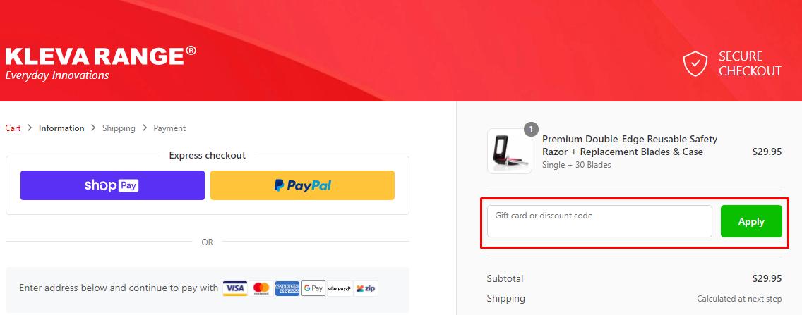 How do I use my KLEVA discount code?