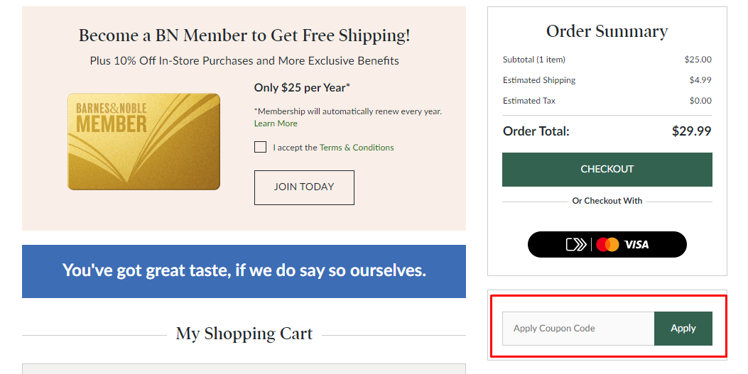 How do I use my Barnes & Noble coupon code?
