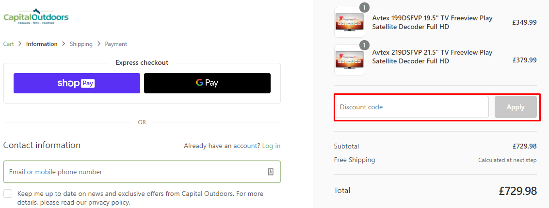 How do I use my Capital Outdoors discount code?