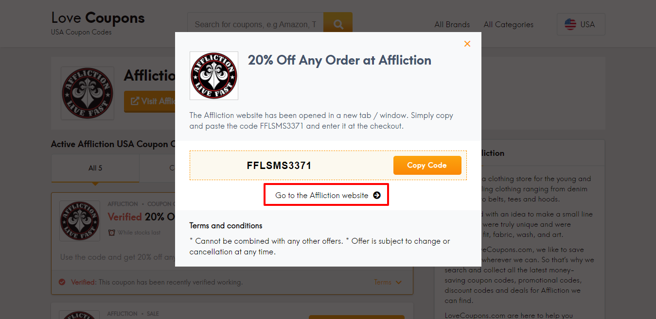 Affliction website