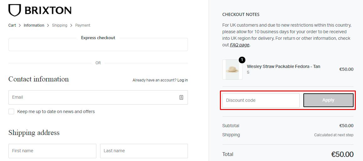 How do I use my Brixton discount code?