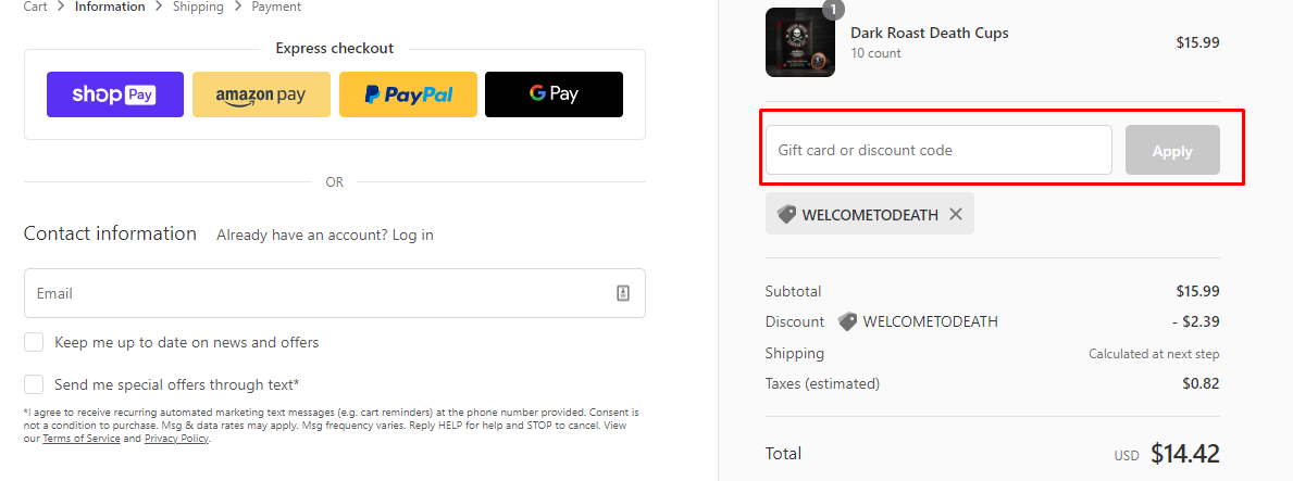 How do I use my Death Wish Coffee discount code?