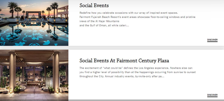 Fairmont Social Events