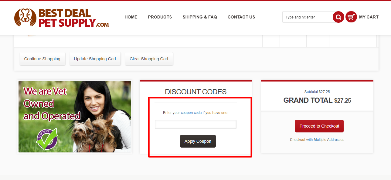 How do I use my BEST DEAL PET SUPPLY coupon code?