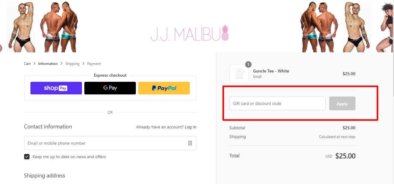 How do I use my J.J. MALIBU discount code?