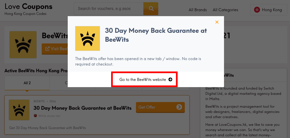 Beewits HK Get Offer