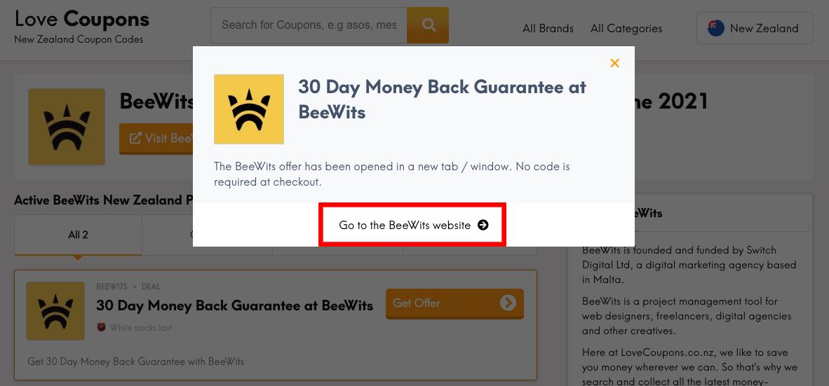 Beewits NZ Get Offer