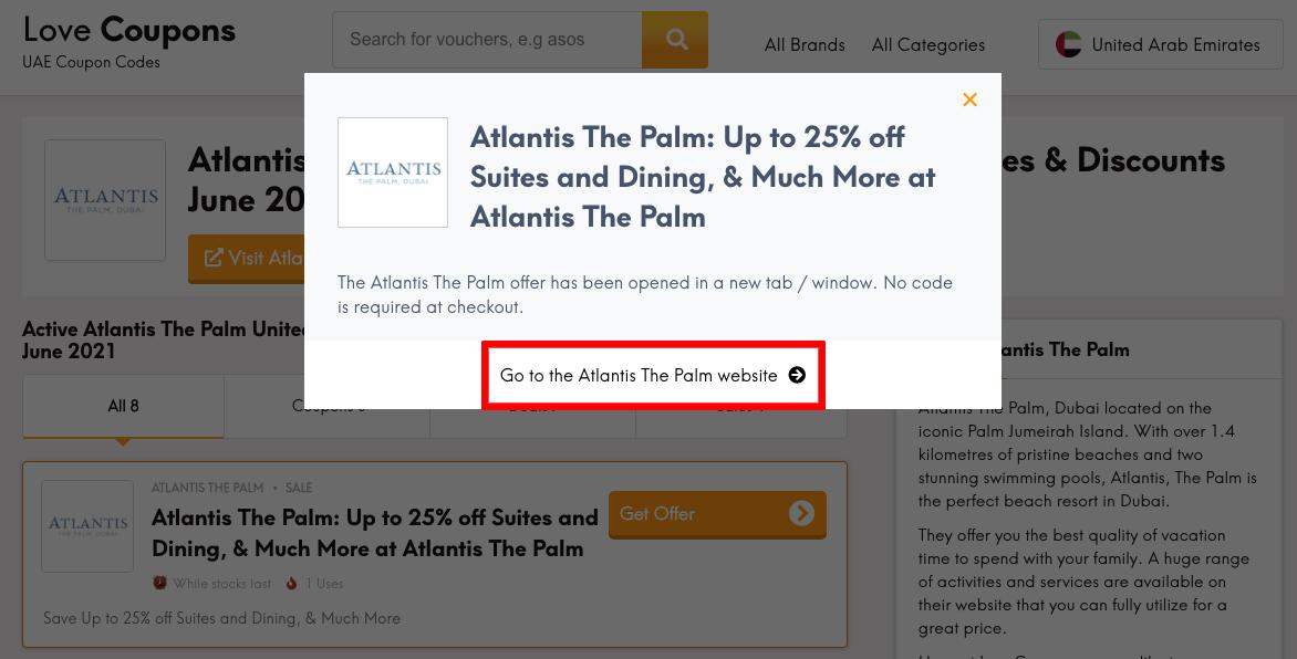 Atlantis Get Coupon